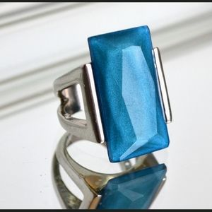 Vintage Silver Blue Acrylic Deco Statement Ring
